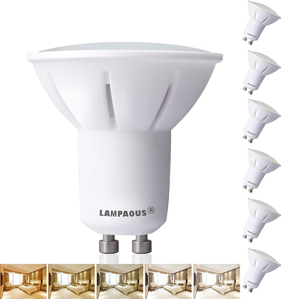 LAMPAOUS GU10 LED Light Bulb with Remote Control 5W GU10 Bulbs Dimmable Color Changing Spotlight No Dimmer Required White Ambiance Lights for Desk Table Beside Lamp Ceiling Pendant Lamp,4 Bulbs Pack