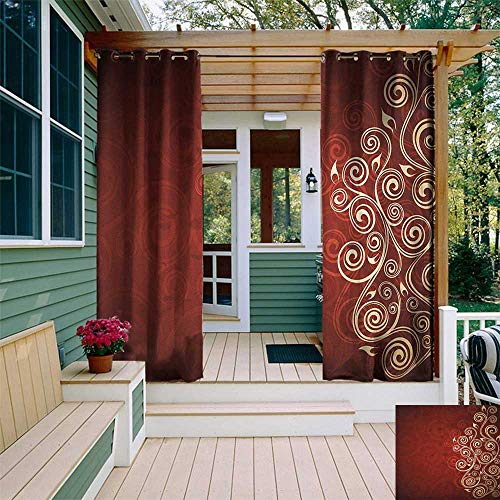 leinuoyi Burgundy, Outdoor Curtain Ends, Floral Flower Swirl Ivy Image with Ombre Details Grunge Backdrop Artwork, for Patio Furniture W96 x L108 Inch White Ruby and Red ()