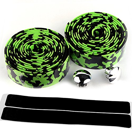 AmazingEC Camouflage Pattern Cork Handlebar Tape Wrap Cycling Road Bike Sports Antiskid With End Plugs Green Black ()