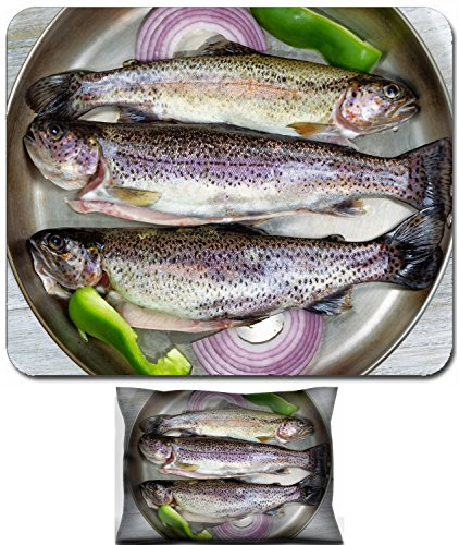 Luxlady Mouse Wrist Rest and Small Mousepad Set, 2pc Wrist Support design IMAGE: 34607784 Top view of fresh wild trout in frying pan with onion and green peppers on rustic white wood (Best Onions For Frying)