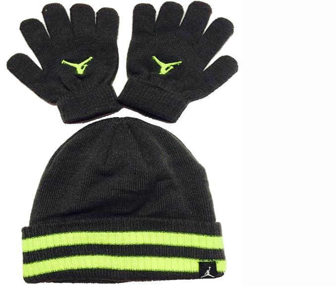 Amazon.com  Nike Jordan Boys Winter Hat Beanie Cap   Gloves Set Size ... 199e28c890a