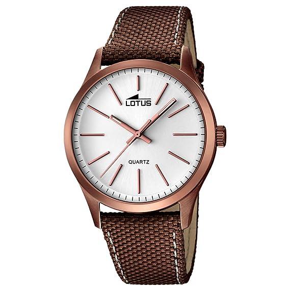 Lotus de Hombre Reloj de Pulsera Smart Casual analógico Textil/Cuero de Pulsera BRAUNMETALLIC Reloj de Cuarzo Esfera Plata ul18246/1: LOTUS: Amazon.es: ...