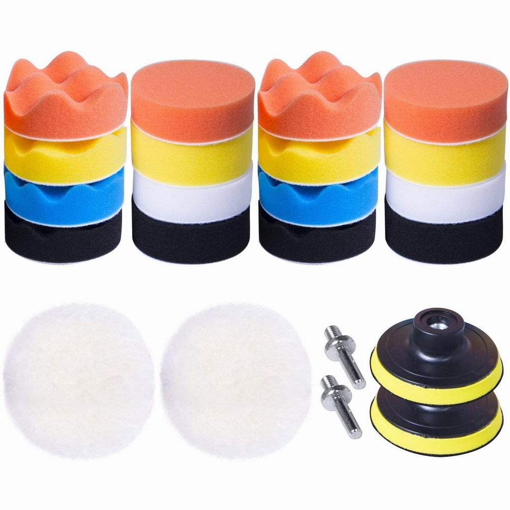 YOUNICER 22pcs 3 inches Polishing Buffer Pads Buffing Pads Set Waxing Sealing Glaze Sponge Drill Adapter Kit