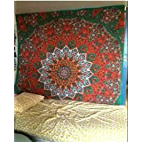 Tapestry Queen Orange green star Hippie tapestries Mandala Bohemian Psychedelic Intricate Indian Bedspread 92x82 Inches Aakriti Gallery