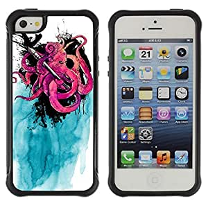 Hybrid Anti-Shock Defend Case for Apple iPhone 5 5S / Cool Octopus & Ink painting