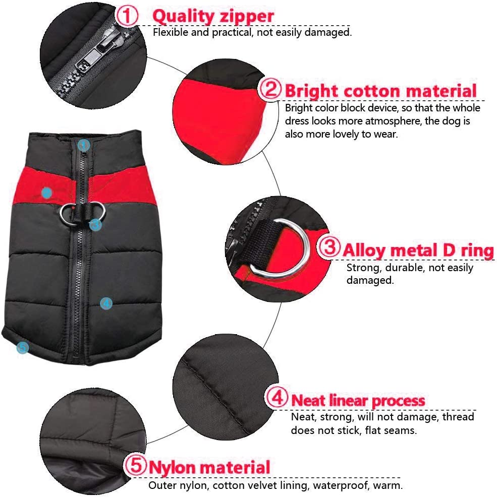Chest 16,4~6kg Berry Warm Large Dog Coat for Winter Waterproof Dog Jacket for Small Medium Large Dogs,Red,L
