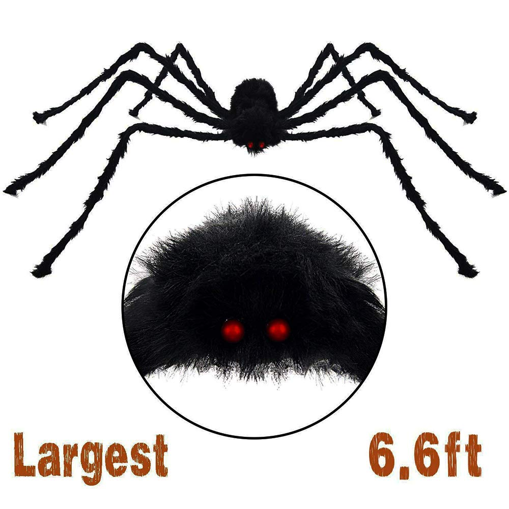 6.6Ft 200CM Halloween Giant Spider Decorations Largest Blush Black Spiders Hairy Spider Toys Fit Halloween Parties Big Halloween Spiderweb Decorations SUGAR