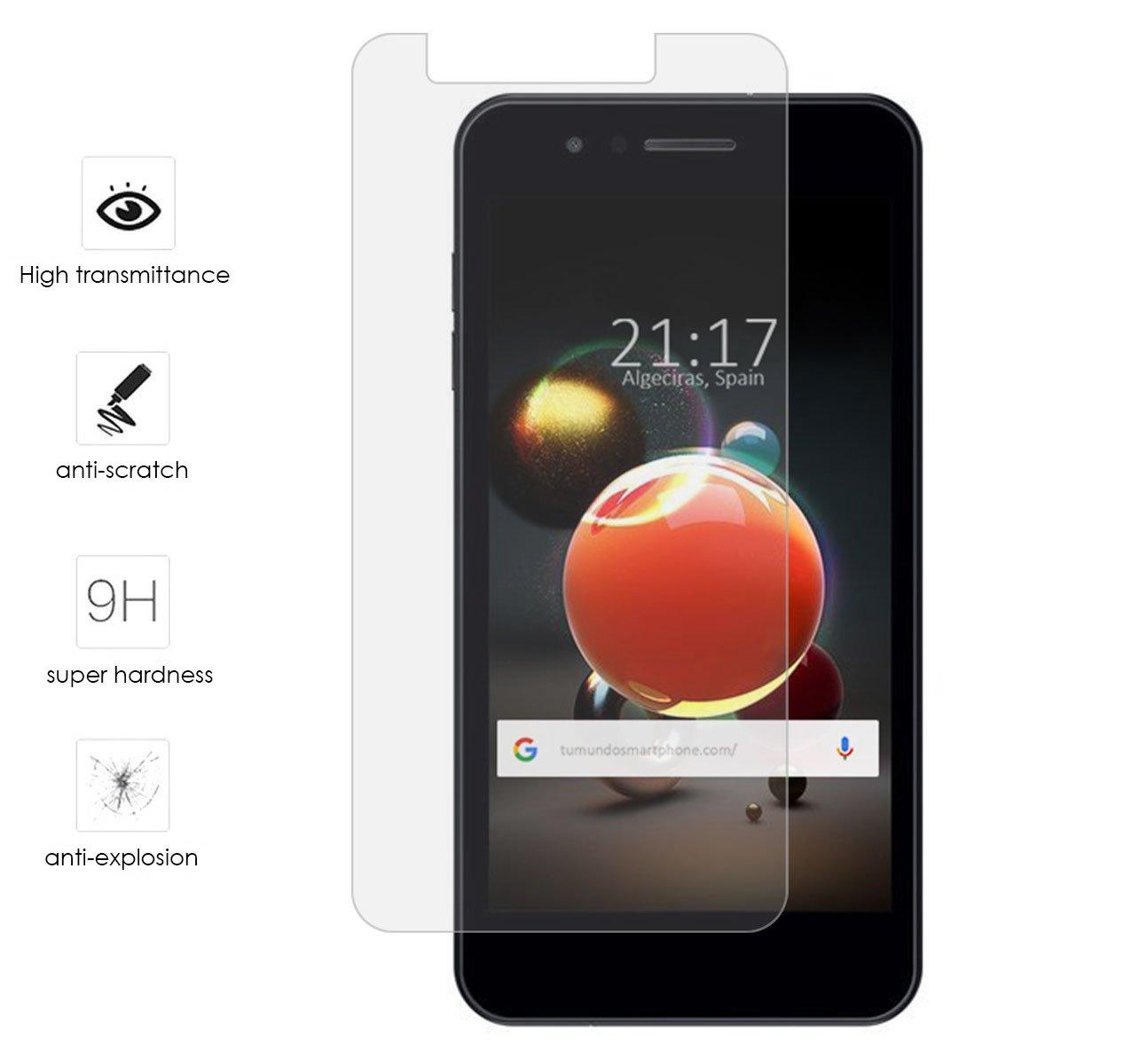 Tumundosmartphone Protector Cristal Templado para LG K9 Vidrio