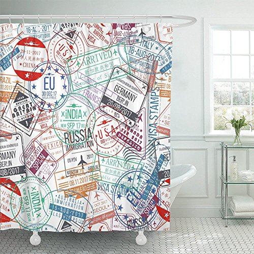 (Emvency Shower Curtain 72x72 Travel Passport Stamp International Arrivals Sign Rubber Visa Trip Russia Airport Canada Australia Waterproof Machine Washable Hooks Included)