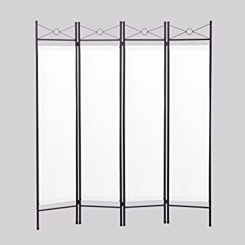lazymoon 4panel steel room divider screen fabric folding partition home office privacy screen