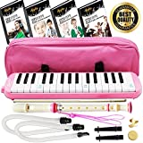 vintage melodica - Melodica Keyboard Wind Instrument with Mouthpiece (32-Keys) Beginners Learn to Play Music, Sounds, Songs | Includes Training Ebooks and Soprano Recorder (Pink)