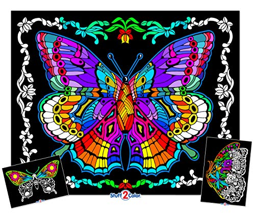 Stuff2Color Geo Butterfly - 23x20 Fuzzy Velvet Coloring Poster ()