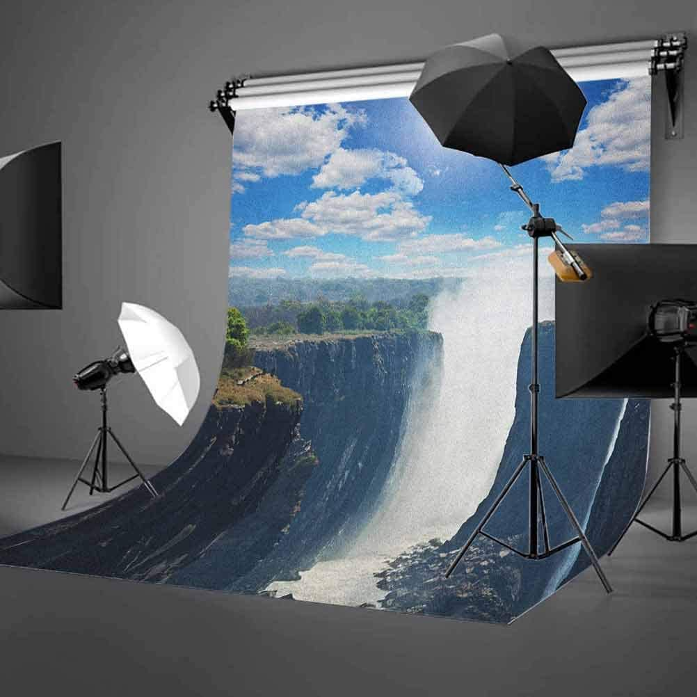 7x10 FT Waterfall Vinyl Photography Backdrop,Victoria Waterfall and Mountain Cliff Sunshine Natural Landscape Photo Background for Baby Shower Bridal Wedding Studio Photography Pictures