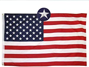 Mural Wall Art American Flag 4'x5', Embroidered Stars US Nylon Flag for Outdoor and Indoor Use, Office Workplace Home Garden Business