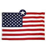 Jushen American Flag, Durable Deluxe Embroidered Stars and Double Edge Sewing,Brass Grommets Nylon Garden US Flag Built for Outdoor and Indoor (3x5FT)