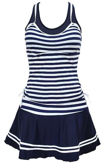 4ecf88efbfa4 Labelar Damen Badeanzug Schwimmenanzug Rock Swimming Dress Streifen Kleid  Two Piece Swimdress