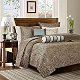 Aubrey Blue Madison Park Premium Quality Elegant Stylish 6 Piece Quilted Coverlet California King Size Set, 1 Coverlet, 2 Shams and 3 Pillows