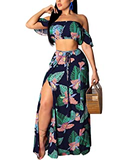 64f5491e17 Women's Sexy Two Pieces Outfits Spaghetti Strap V Neck Crop Top Side Split  Maxi Chiffon Dress
