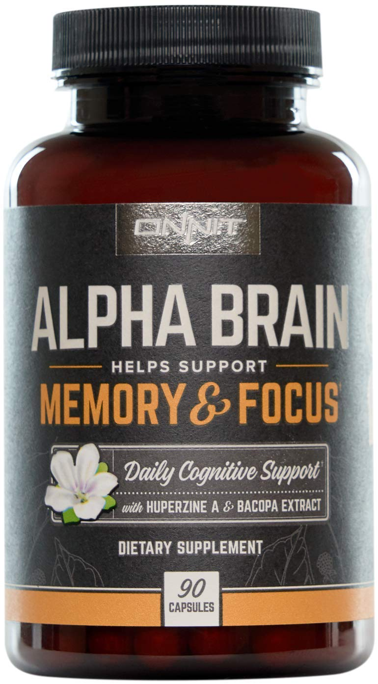 ONNIT Alpha Brain (90ct) - Over 1 Million Bottles Sold - Nootropic Brain Booster Supplement - Promotes Focus, Concentration & Memory - Alpha GPC, L Theanine, Bacopa Monnieri, Huperzine A & Vitamin B6 by ONNIT