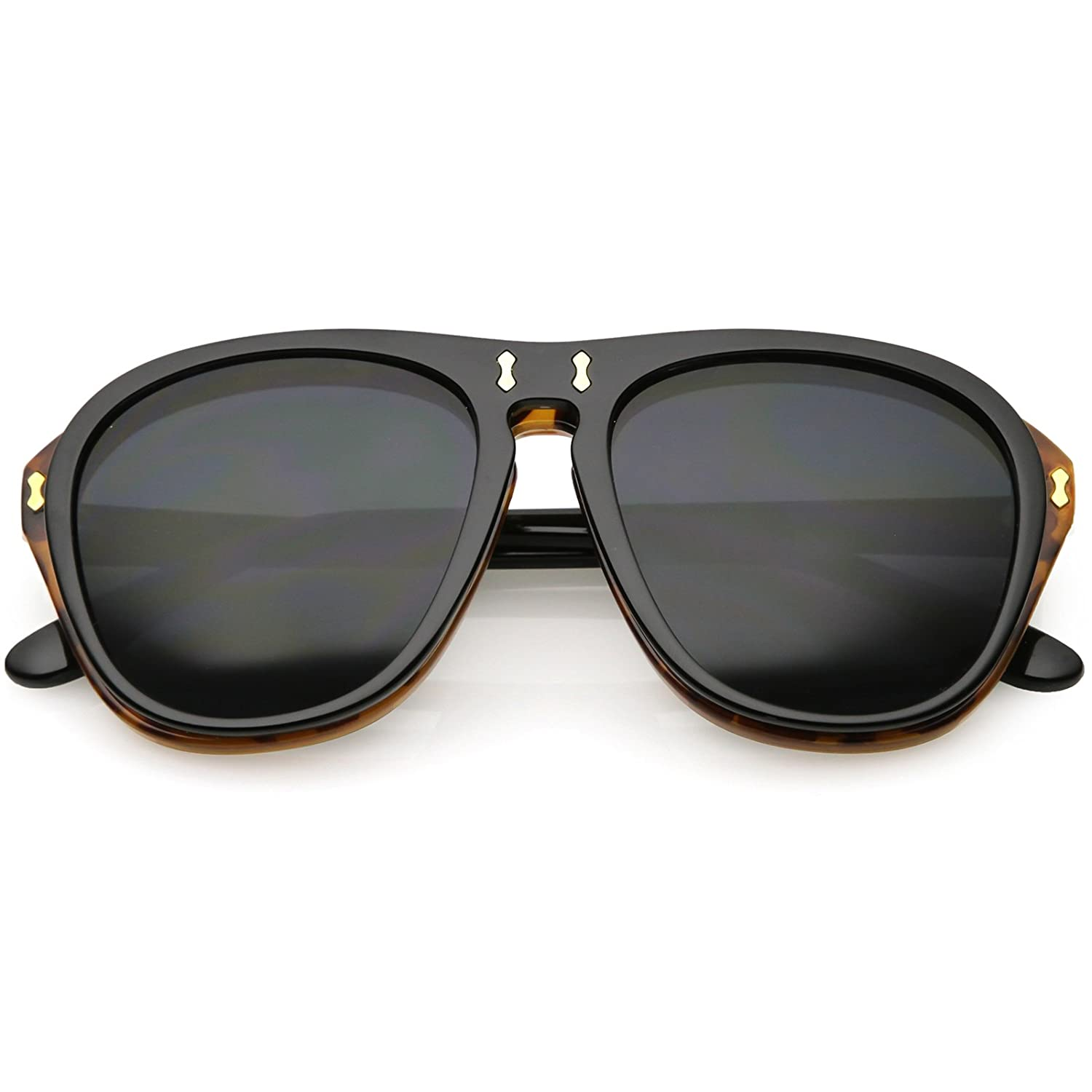 ced9026df618 Amazon.com: sunglassLA - Retro Vintage Mcgregor Flip Up Aviator Sunglasses  For Men 55mm (Black Tortoise/Smoke): Clothing