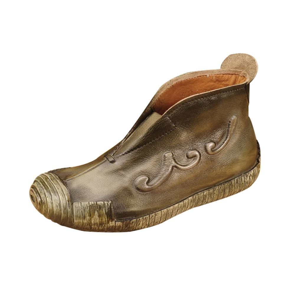 QPYC Damen Schuhe Erste Schicht Aus Leder Stiefel Super Soft Bottom Echtem Leder Kurze Stiefel Weibliche Stiefel , Grün , 35