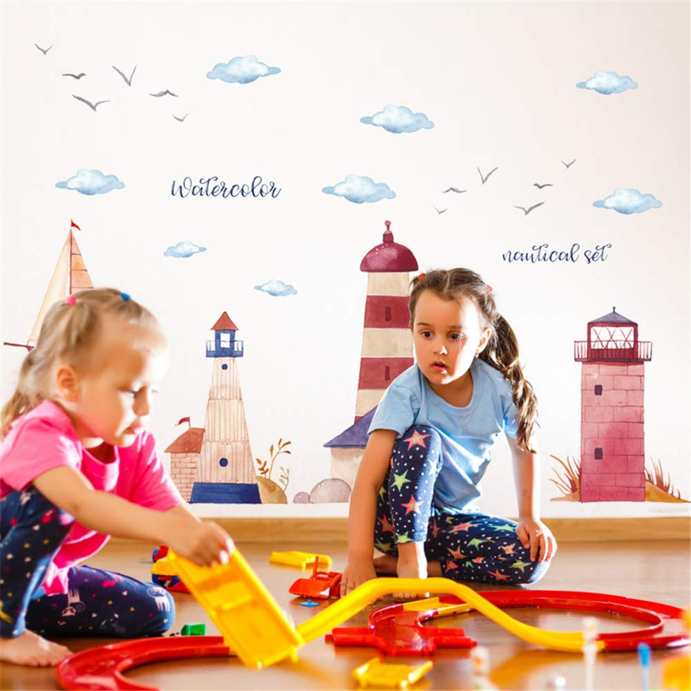 ufengke Seaside Lighthouses Wall Stickers Sailboat Nautical Removable Wall Decals Art Decor For Kids Bedroom Living Room