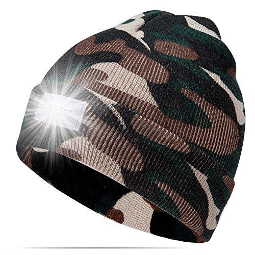 Ultra Bright 5 LED Hands Free Unisex Lighted Beanie Cap/Hat Power Stocking - 12000MCD of Perfect Flashlight for Outdoors Sports,Hunting, Camping, Grilling, Jogging, Fishing, Handyman Working
