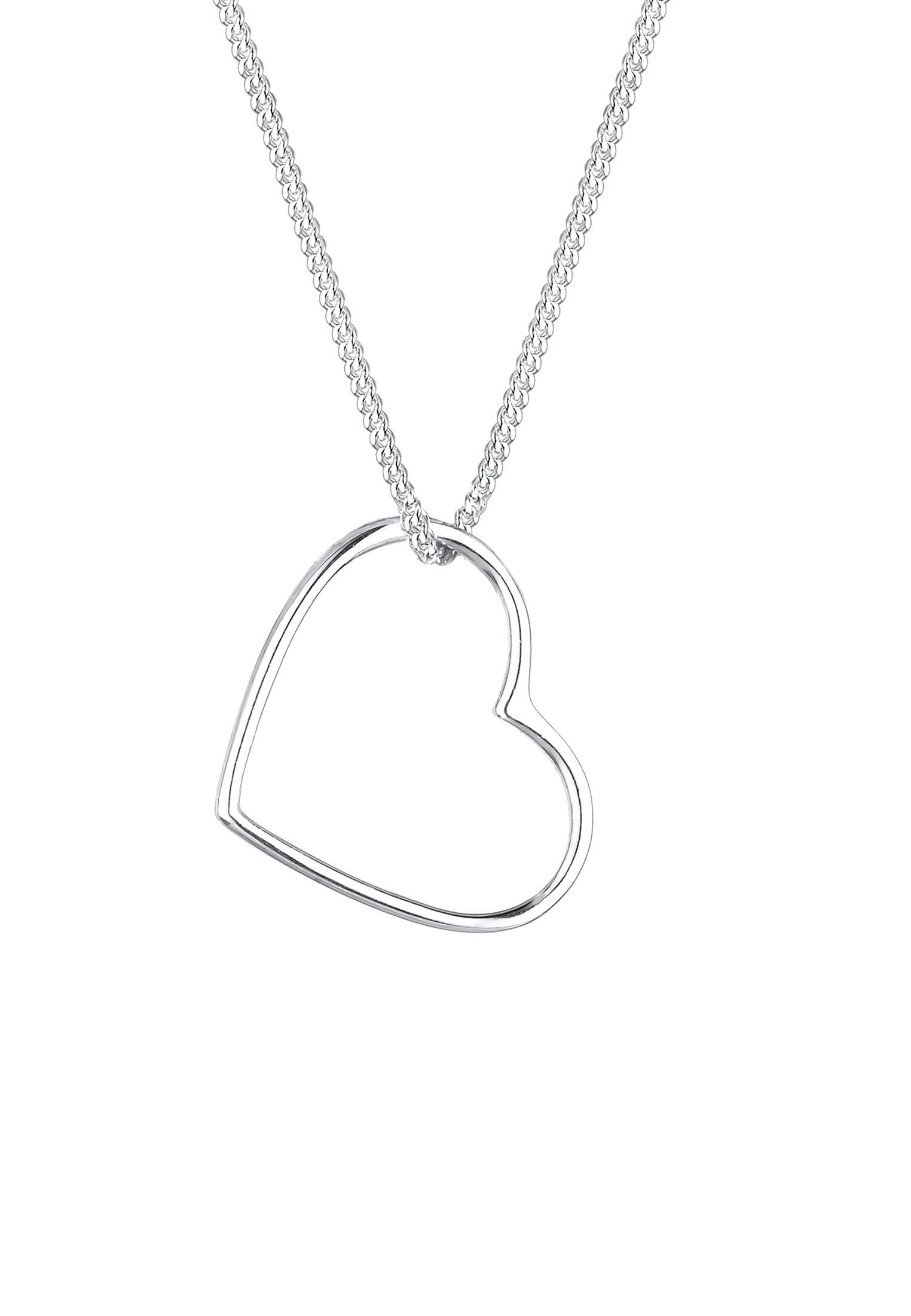 Necklace Women Heart Pendant Filigree in 925 Sterling Silver