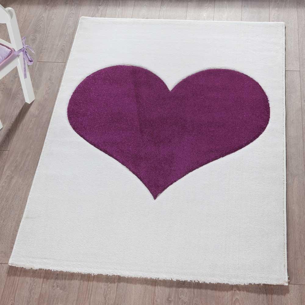 Pharao24 Herz Teppich in Lila Weiß 170 cm breit