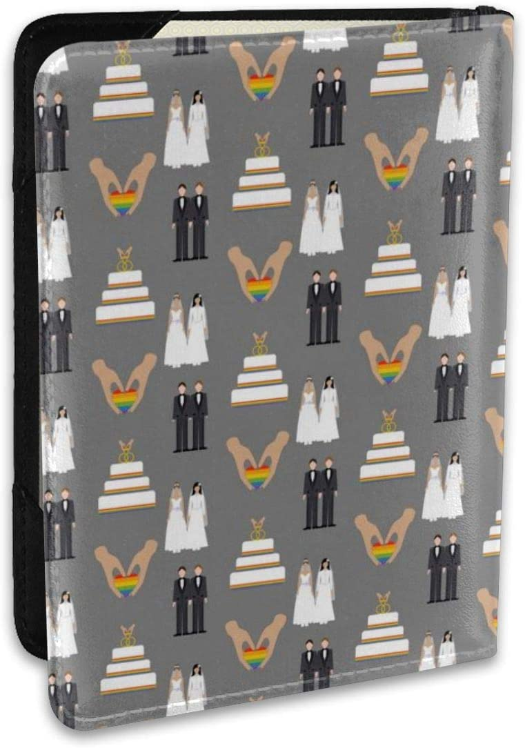 Biahos Leather Passport Cover Gay Couple Wedding Wallet For Passport Case