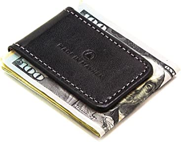 194ed2a992e Black leather money clip with magnet for men. Italian leather magnetic  money clip made in