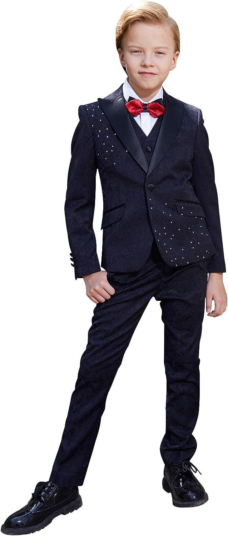 ELPA ELPA Boys Suit 6 Piece Slim Fit Formal Dresswear Set