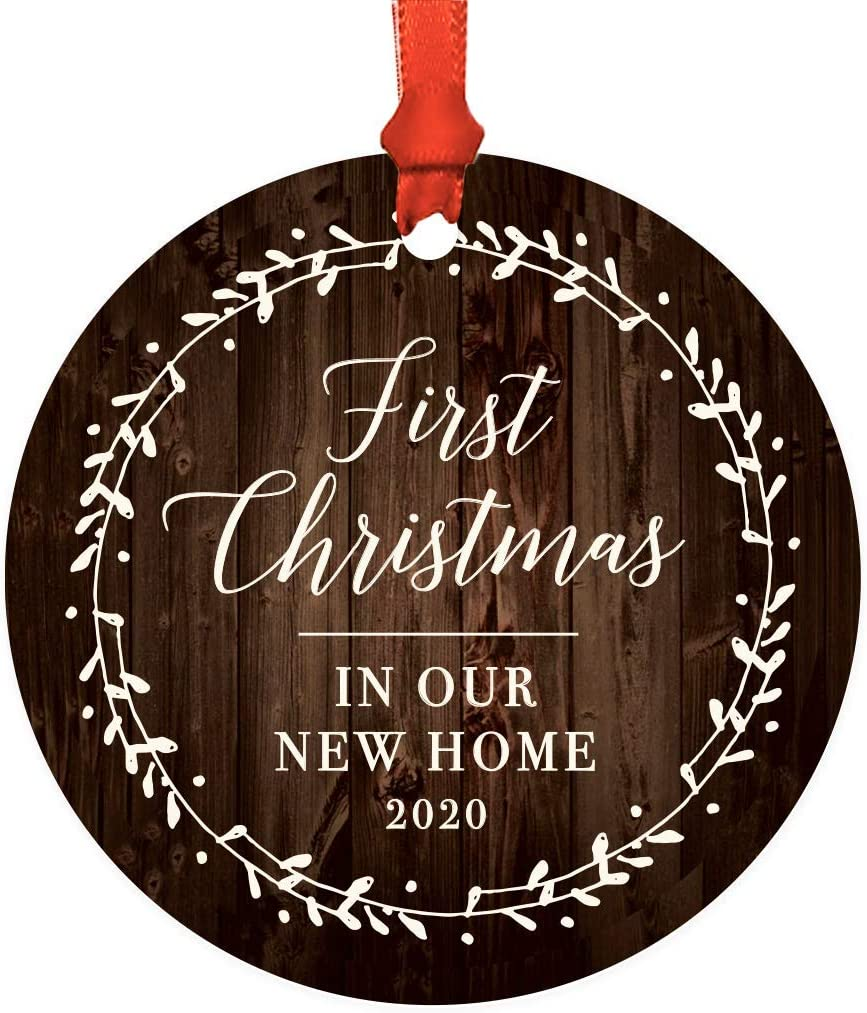 Andaz Press Custom Year Metal Christmas Ornament, First Christmas in Our New Home 2020, Rustic Wood Florals, 1-Pack, Includes Ribbon and Gift Bag