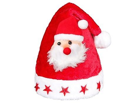 Cappello da Babbo Natale per Bambini a Luci LED rossi con Pon Pon e Peluche  di e7f0bc9e6ead
