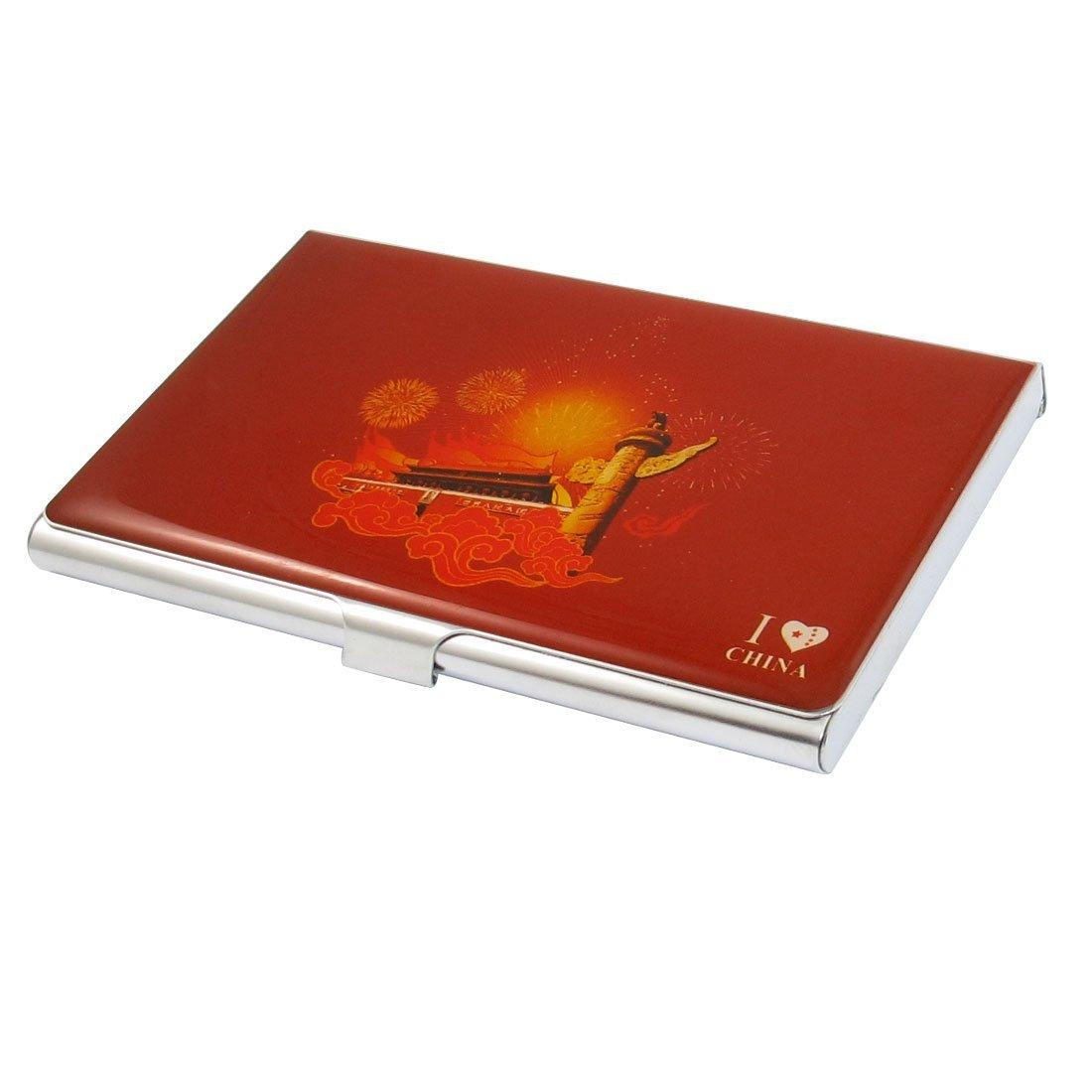 Sourcingmap in acciaio INOX da uomo Business Tian un Id con porta carte di credito, colore: rosso a12092800ux0268