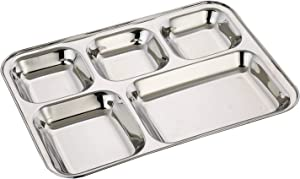 WhopperIndia Heavy Duty Stainless Steel Rectangle/Square Deep Dinner Plate w/5 Sections Divided Mess Trays for Kids Lunch, Camping, Events & Every Day Use 34 cm each