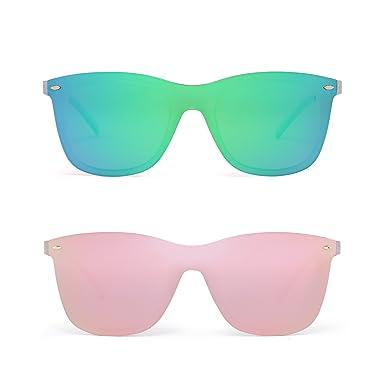 Randlos Spiegel Sonnenbrille Ein Stück Rahmenlos Brille Damen Herren(Transparent/Spiegelgrün) 7iLWX