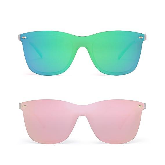 55788fd916 Rimless Mirrored Sunglasses One Piece Frameless Eyeglasses Men Women 2 Pack  (Green   Pink)