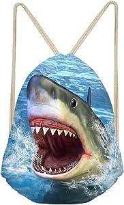 Aoopistc Women Men Ocean Animal 3D Shark Print Portable Foldable Athletic Drawstring Backpack