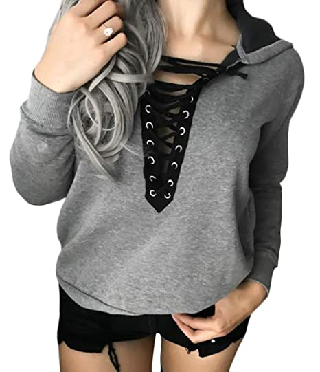 5cf7e122e8 Image Unavailable. Image not available for. Color  KXP Women s Solid Fashion  Lace Up Top Pullover ...