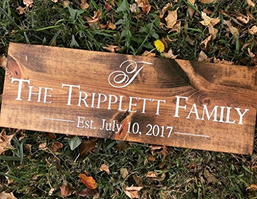 Initial Plaque (FAST SHIPPING UNIQUE PERSONALIZED GIFT Family Last Name Wooden Sign with Initial and Wedding Date. Custom name plaques custom Wooden Sign - Painted or Engraved Options .sign#244)