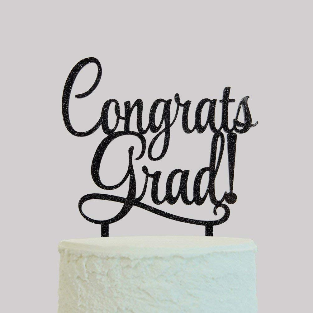KISKISTONITE Congrats Grad Cake Topper - Class of 2018 Graduate Party Decorations Supplies - High School Graduation, College Graduate Cake Topper, Black Special Event