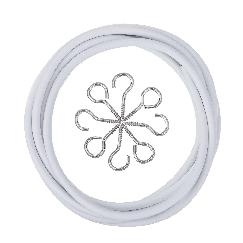 Blanc Fil de Rideau avec 4 Yeux et 4 Crochets(2 m) Outus