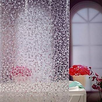 Adwaita 10 Guage Cobblestone 3D EVA Shower Curtain Liner With Hooks Treated To Resist Deterioration