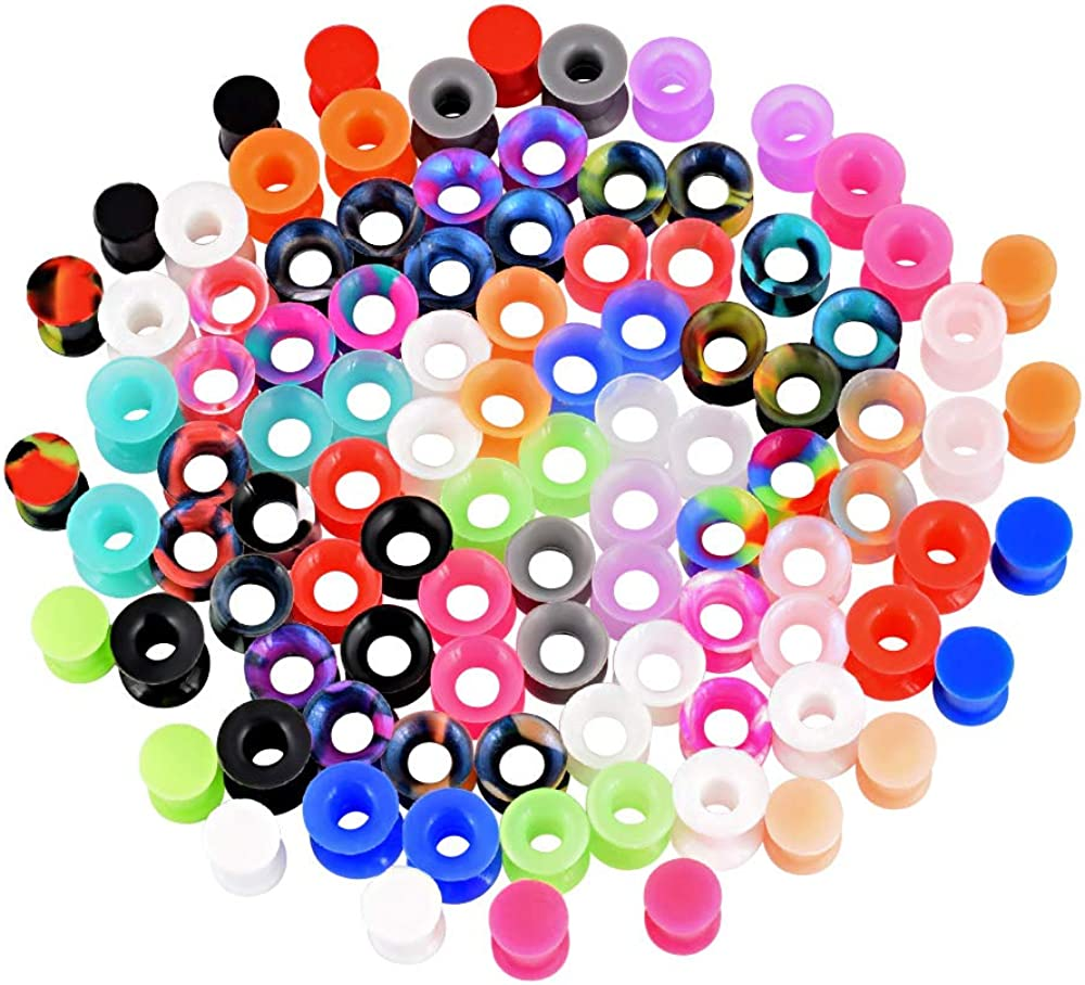 YOFANST 56pcs//100pcs Colorful Silicone Ear Gauges Double Flared Ear Tunnels Set Stretchers Expander Ear Piercing Jewelry