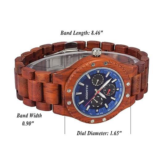 Relojes de Madera, BEDATE W144A Reloj de Cuarzo Japonés Lujo Hombre con Reloj 24 Horas Pulsera y Esfera Azul (Rojo): Amazon.es: Relojes