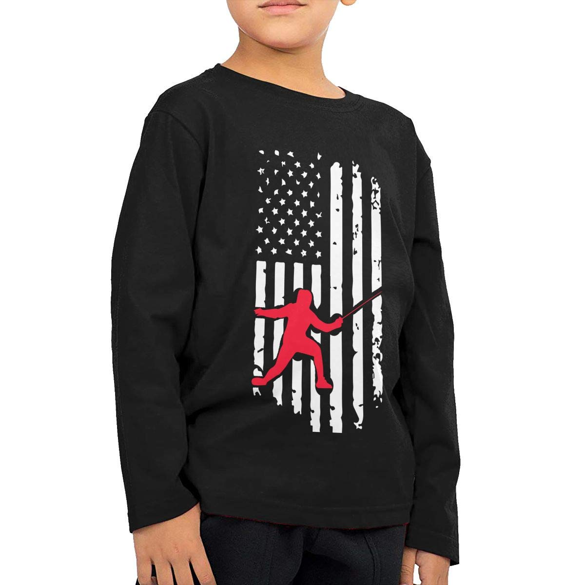 Fryhyu8 Baby Boys Kids Fencing American Flag-1 Printed Long Sleeve 100/% Cotton Infants T-Shirts