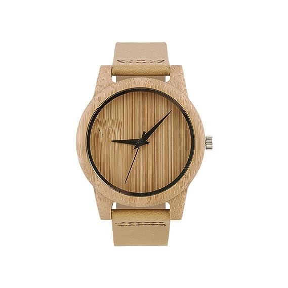 Reloj de madera para hombres y mujeres, hecho a mano relojes de madera Movimiento de