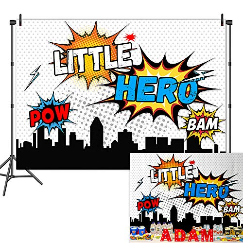 Mehofoto Superhero Baby Shower Backdrop Super Hero Cityscape 1st Birthday Background 7x5ft Vinyl Superhero Cityscape Child Kids Birthday Party Banner -