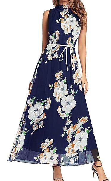 Royal Blue Chiffon Belted Dress